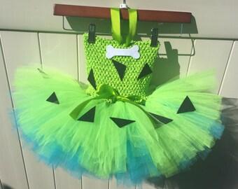 Pebbles Costume, Flinstones girl costume, Pebbles tutu dress, Flinstones tutu dress, Girls Halloween Costume, Halloween tutu, Green Pebbles