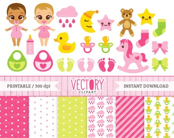 21 Baby Shower Clipart for Girls & 6 Digital Papers, Baby Girl Clipart, It's a Girl Clipart Set, Baby Digital Papers by VectoryClipart