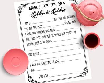 Printable Mad-lib Wedding Advice cards in black and white Guestbook alternative