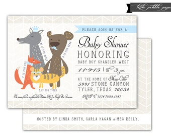 woodland animals baby shower invitation zoo animals baby shower baby blue and ivory