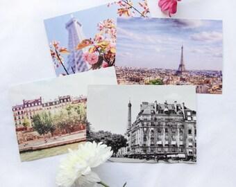 Paris postcard, Set of Four Scenes of Paris Photo Postcards, postcard set, Eiffel Tower, Photo Stationary, notecards, photo notecards