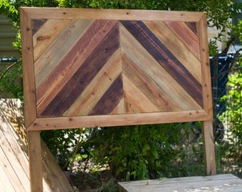 Reclaimed Wood Chevron Headboard