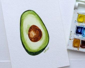 "Avocado 5"" x 7"" Original Watercolor Painting"