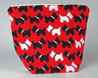 Large red Scottie dog fabric make up bag, cosmetic bag, toiletry bag, wash bag