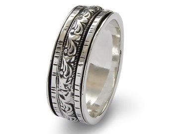 Woodland silver band, Wide Spinners ring, men woman Infinity ring, wedding band, durable ring, everyday ring, wide band, meditation ring