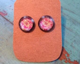 10mm gun metal floral earrings