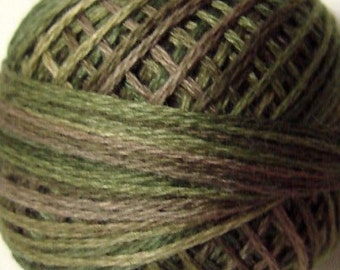 Size 8 - P2 Olive Green   VALDANI PERLE COTTON   Vintage Hues, Variegated Pearl, Hand Dyed Thread, 73 Yard Cotton Ball