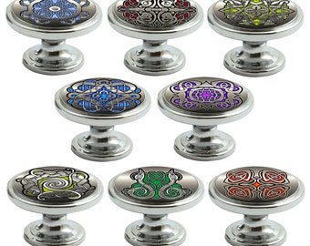 Celtic Designs Decorated Polished Chrome 38mm Drawer Cupboard Cabinet Knobs