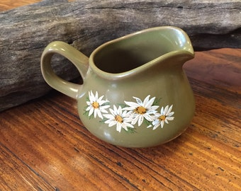 Retro Avocado Green Creamer with Daisy Flowers