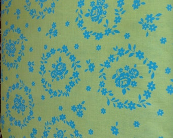 Floral Collection - Flower Sugar - by Lecien - Green and Turquoise - Fabric by the Yard