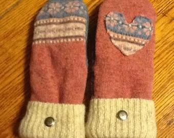 Soft and warm handmade wool sweater mittens