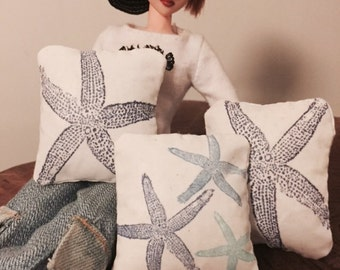 1:6 play scale accent pillow set-of 3 sea shell prints