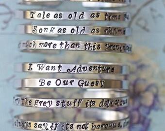 Tale as Old as Time Skinny Cuff Bracelet - Fairy Tale Jewelry | Fairy Princess inspired jewelry | Personalised Bracelet|