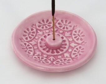Incense Burner - Incense Stick Holder - Pink Pastel Ceramic