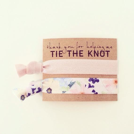 Hair Tie Bridesmaid Gift | Blush Floral Hair Tie Bridesmaid Gifts, Bridesmaid Gift Hair Tie Favor, Bridal Shower Favor, Nude Blush Champagne