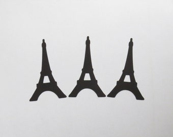 """Black Eiffel Tower Die Cuts - 1-3"""" Inch Diecuts Choose Your Color/Colors Paris France French Travel Landmark Stationery Cards Decorations"""