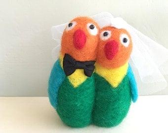 Love birds wedding cake topper love birds lovebird bride and groom needle felted felting needle felt wool engagement red green orange yellow