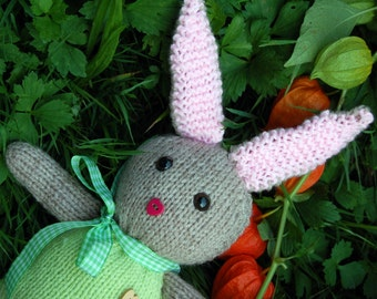 Hand-Knitted Bunny; 14 in // 35 cm