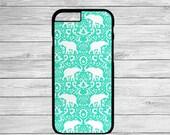 Elephant Damask iphone 6 case, Elephant iphone 6 Plus case, damask, cute iphone 6 case, iphone 6 case, tribal, iphone 6 case clear, mint