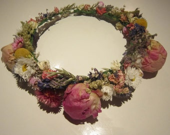 Beautiful Bespoke Handmade Floral Crown, Garland, Wedding Hair Piece with Peonies, Thistle, Daisy Halo, Circlet, Comb, Festival, Boho