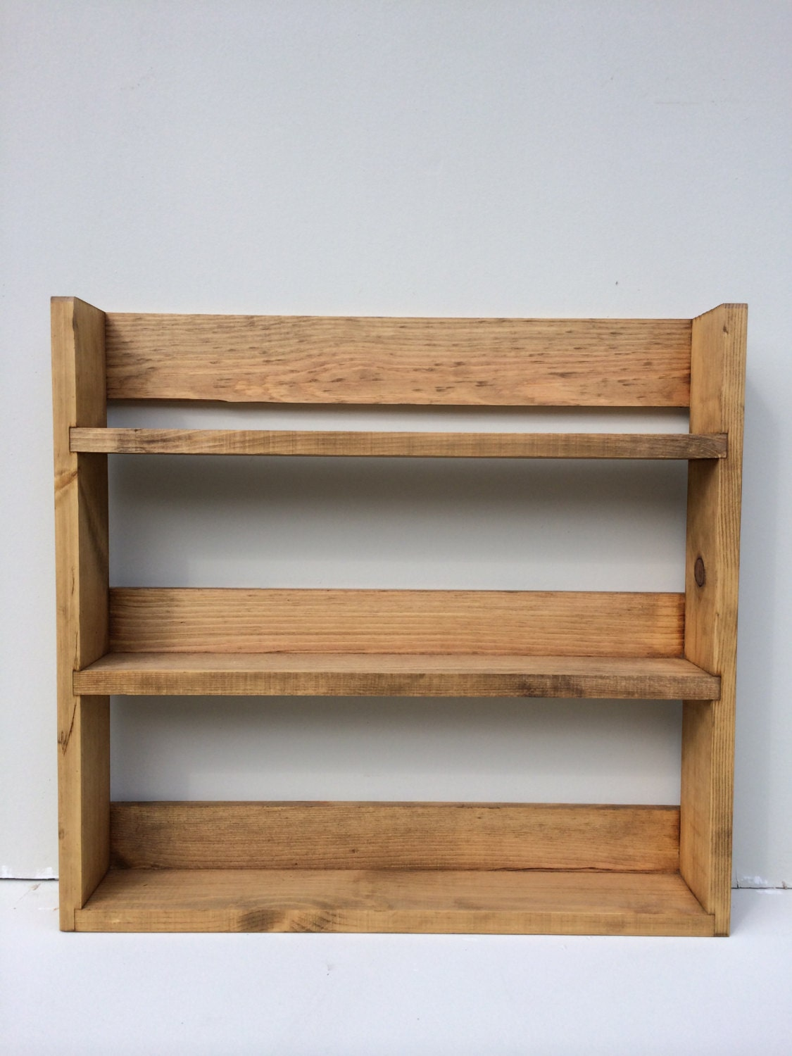 reclaimed rustic wooden spice rack 3 shelves 41cm tall open