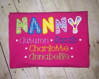 Personalized Grandmother Shirt with Names of Grandchildren
