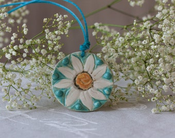Sunflower semi porcelain necklace