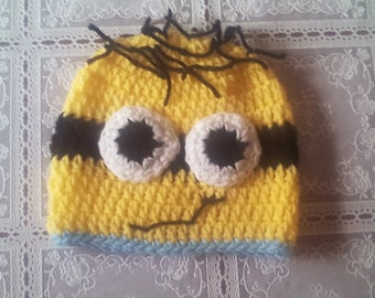 Crochet minion hat , newborn minion hat, boy minion hat, crochet minion hat ,baby boy hat ,newborn boy hat