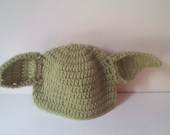 Toddler yoda hat,Crochet Yoda hat,baby Yoda hat,newborn Yoda hat,Yoda hat,starwars hat, pink bow added for free, ready to ship