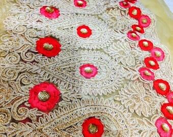 3 1/2 meters designer Embroidered  net Fabric, Wedding Fabric,Lengha Fabric, Indian wedding Fabric , embroidered Net fabric, India, Indian