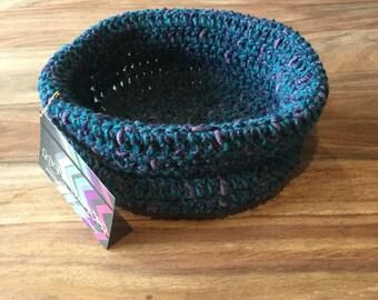 Medium Sized Teal and Purple Crochet Basket
