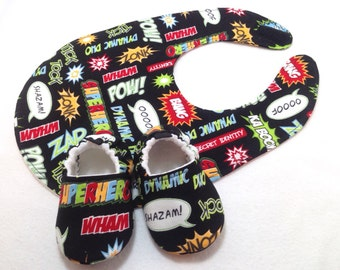 Superhero Baby Shoes and Bib Gift Set, Soft Sole Baby Shoes, Baby Booties, Baby Shower Gift, Toddler slippers