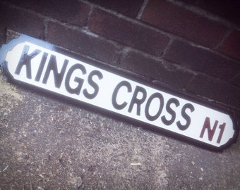 Kings Cross Old Fashioned Wood London Street Sign