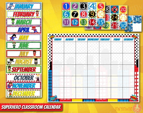 Classroom Decoration Charts For Primary School : Superhero classroom calendar pre school