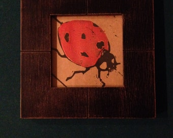 5 lino cut printed lady bug cards for baby showers or any party invatations, or just to say hello.