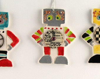 Robot Ornament, One-of-a-kind Ceramic Clay, Handmade by Karlene Voepel.         Sold Individually.