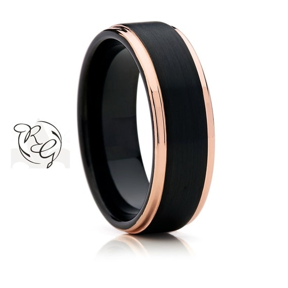 8mm Two Tone Black With Rose Gold Tungsten Mens By