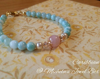 Caribbean - Larimar, Freshwater Pearl, Beryl and Swarovski crystal gold-filled / gold nano-plated bracelet