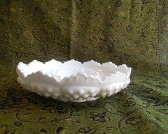 Hobnail White Milk Glass Dish, Candle Holder