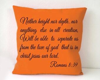 Bible pillow cover, Roman 8:39, Bible graphic printed pillow cover,Throw pillow, Square cushion cover,white pillow case, Sofa cushion