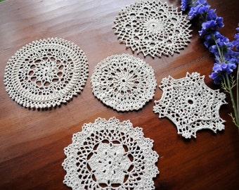 Small Crochet Doilies, Set of 5, Ecru