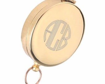 Personalized Compass / Custom Monogram Engraved