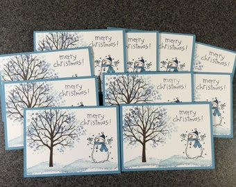 "Christmas Cards, Stampin Up Cards, Christmas Card Set of 10 Cards 4 7/8"" X 3 1/2"", Handmade Cards, Snowman Cards, Stampin Up Christmas Cards"