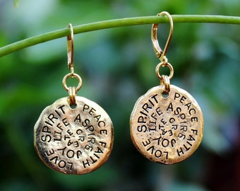 Inspirational Words Dangle Earrings.Hammered.Metal Earrings.Gold.Silver.Drop.Bridal.Valentine.Graduation.Birthday.Gift.Friendship.Handmade.