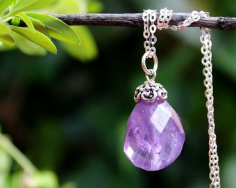 Amethyst Stone Pendant Necklace.Gemstone.Sterling Silver Chain.Statement.Dainty.Beadcap.Bridal.Mother's.Boho.Layering.Gift.Handmade.