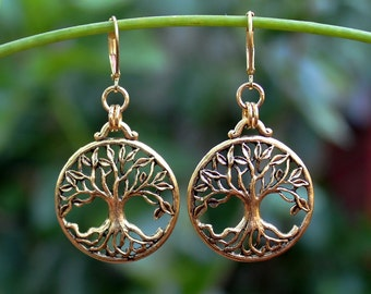 Tree of Life Dangle earrings.Metal plated in 24 karat gold. Drop Earrings. Judaica.Hanukkah. Bat-Mitzvah.Gift. Handmade.