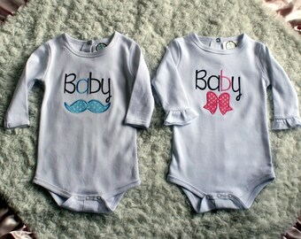 Twin A and Twin B Mustache and Bow Onesies