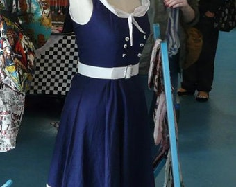 Sailor Dress Pin Up Plus Size Rockabilly Clothing 50s Swing Hot Rod Kustom Kulture Nautical Vintage Style Dresses All Sizes Navy Blue