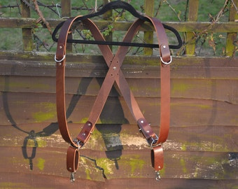 Double Camera Harness - Brown - free postage to UK