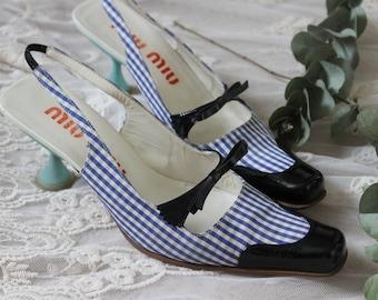 Miu Miu Prada Gingham Check Heels, Blue and Black Bow Kitten Mules.